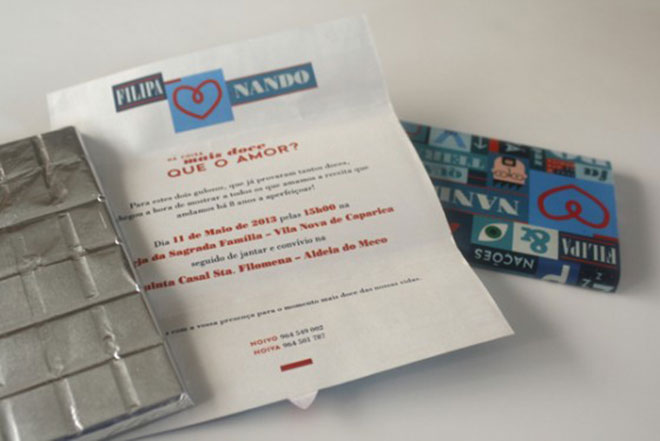 Convite de casamento Super criativo com chocolate.Fonte da imagem: Reprodução/Creative Market