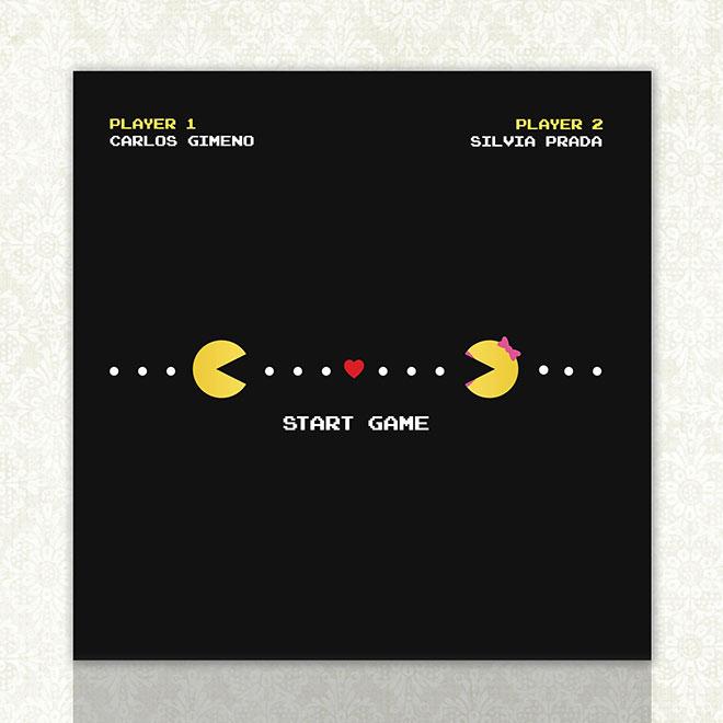 Convite de casamento super original Pacman preto.Fonte da imagem: Reprodução/Invitaciones Diquesi