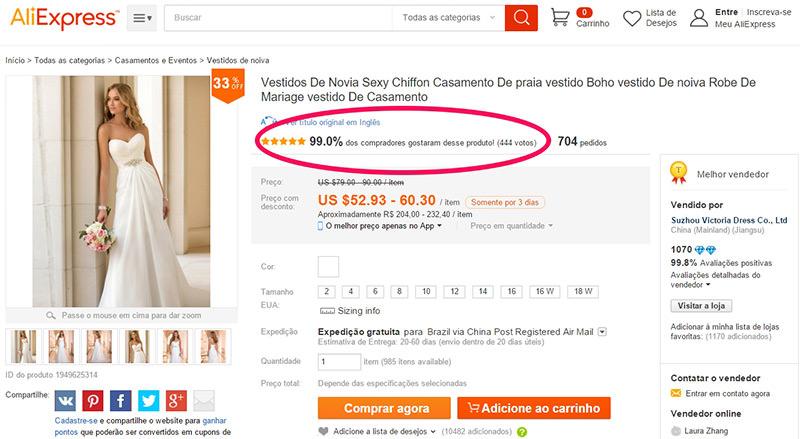 Olhar os Feedbacks é uma dica fundamental para comprar Vestidos de Noiva da China.